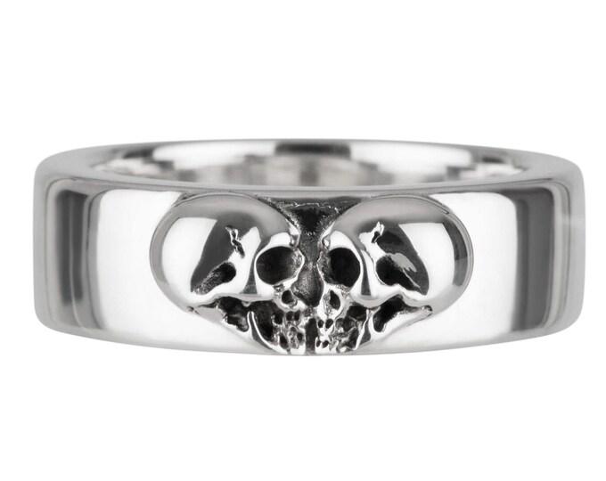 Kissing Skulls, Size 7, Massive Womans Skull Ring, Goth Heart, Skull Band, Gift for Her