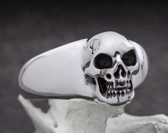 BEHEMOTH - Size 10, Skull Signet Ring in Massive Sterling Silver, Biker, Rocker, Goth, Gift