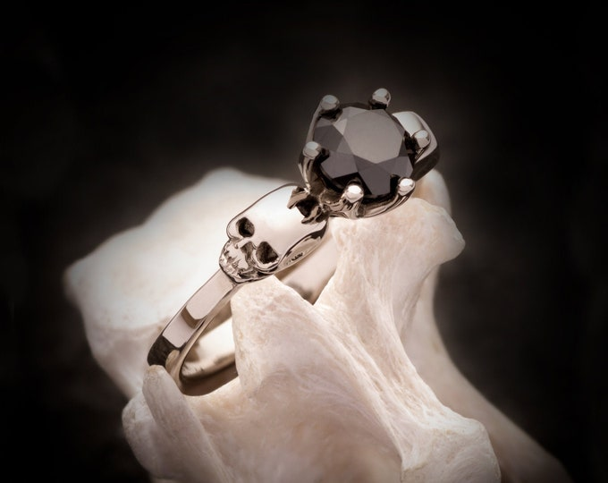 WANDIKA Skull Engagement Ring, Memento Mori, Goth Wedding - choose your stone, Anniversary, Gift For Her, Bridal
