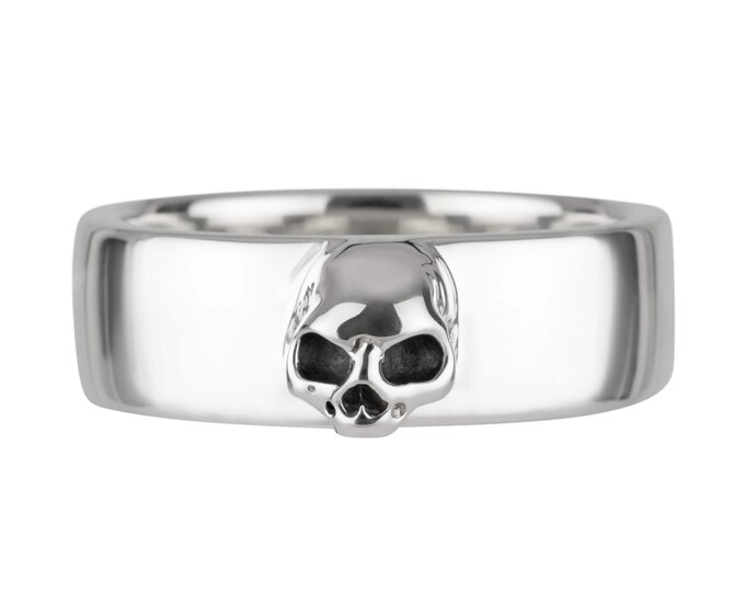 Grooms Skull Band, Size 9, Mens Wedding Ring, Sterling Goth Grooms Band, Psychobilly, Wedding Set, Anniversary, Gift For Him, Husband