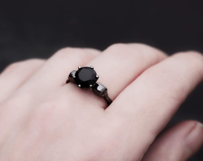 WANDA Black Skull Ring with 2ct Black Diamond, Womans 14K Black Gold Ring