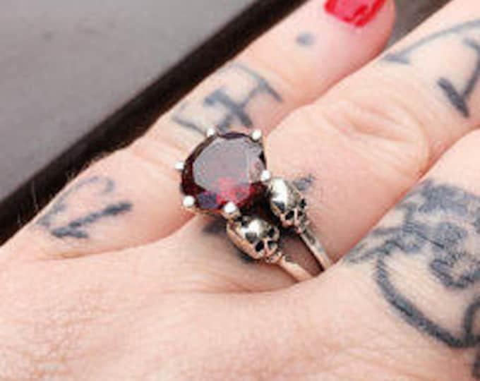 VARLA - Skull Wedding Ring, Blood Red Garnet, Goth Wedding Sterling Silver, Skull Engagement
