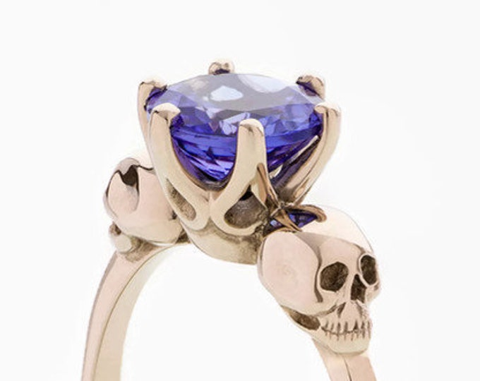 WANDA Tanzanite Skull Ring in Solid 14K Rose Gold, Alternative Engagement Ring, Anniversary, Gift For Her, Bridal
