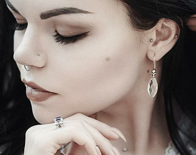 BEHEMOTH - Skull Earrings in Sterling Silver and Rock Crystal, Gothic Bridal Dangles with Clear Stone, Ready to Ship