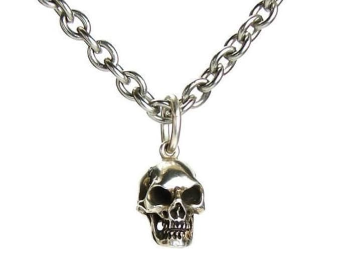 Skull Necklace with Long Steel Chain Necklace Goth Skull Pendant Memento Mori Pendant Rocker Necklace