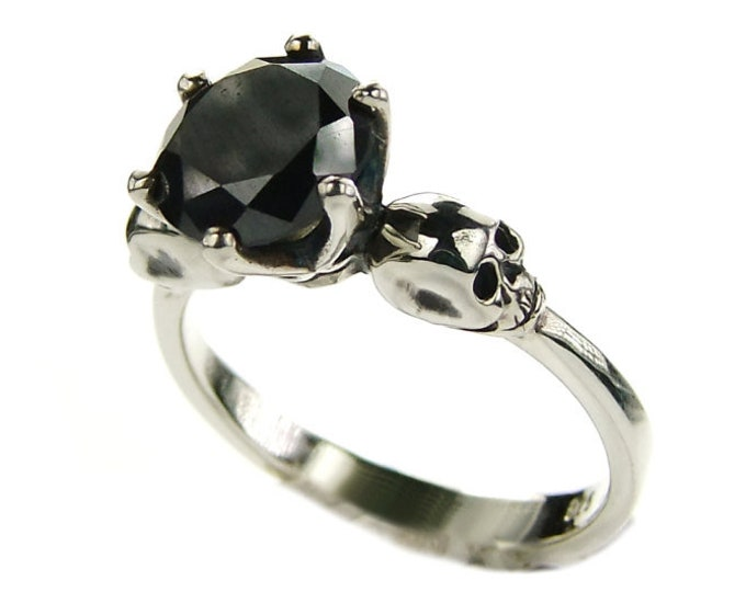 WANDA Womens Black Moissanite Skull Ring, Love to Death Goth, Memento Mori Ring