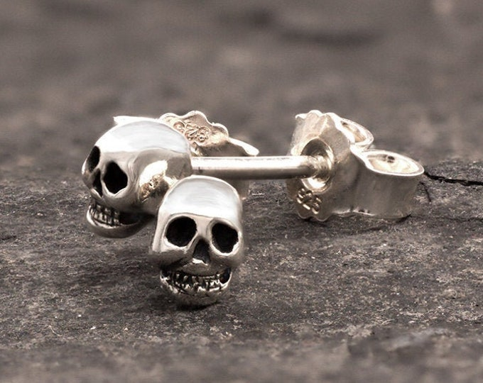 Skull Post Earrings, Small Skull Earstuds in Sterling Silver, Ready to Ship