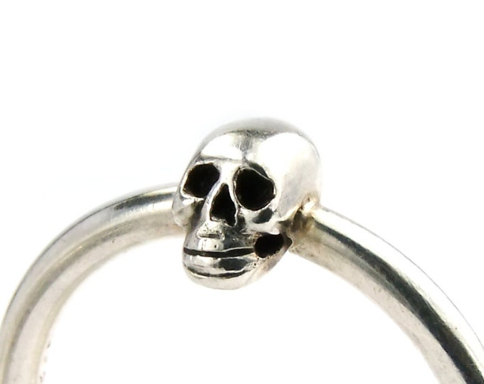 Small Silver Skull Ring, Womens Tiny Ring, Memento Mori, Goth Style