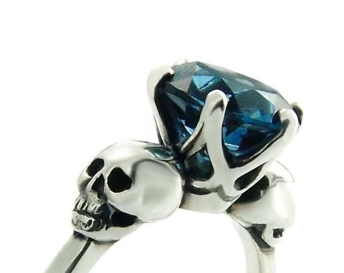WANDA Goth Ring, Womans Skull Promise Ring Size 7, Blue Topaz, Skull Engagement, Dark Blue Gemstone, Memento Mori, Psychobilly, Gift for Her