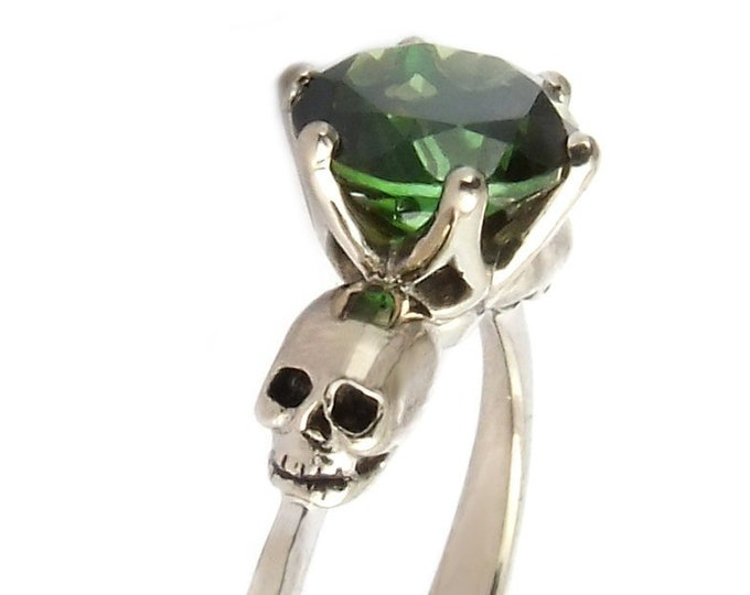 WANDA Tourmaline Skull Ring,  14K White Gold, Dark Edgy Bride, Anniversary, Gift For Her, Bridal