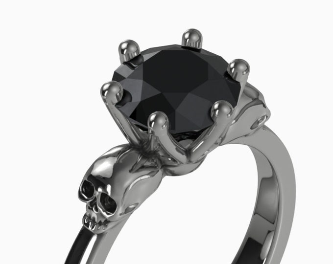 WANDA Goth Gemstone Ring, Black Skull, 14K Black Gold, Black Spinel, Memento Mori Ring Goth Engagement Black Stone