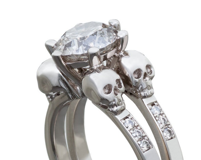 Skulls in White Gold Memento Mori Ring, Luxury Goth Engagement with White Topaz or Sapphire, All Sizes