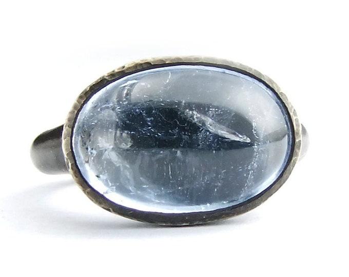 Aquamarine Silver Ring, Gemstone Ring, Cocktail Ring Set, Gemstone Womens Jewel Ring