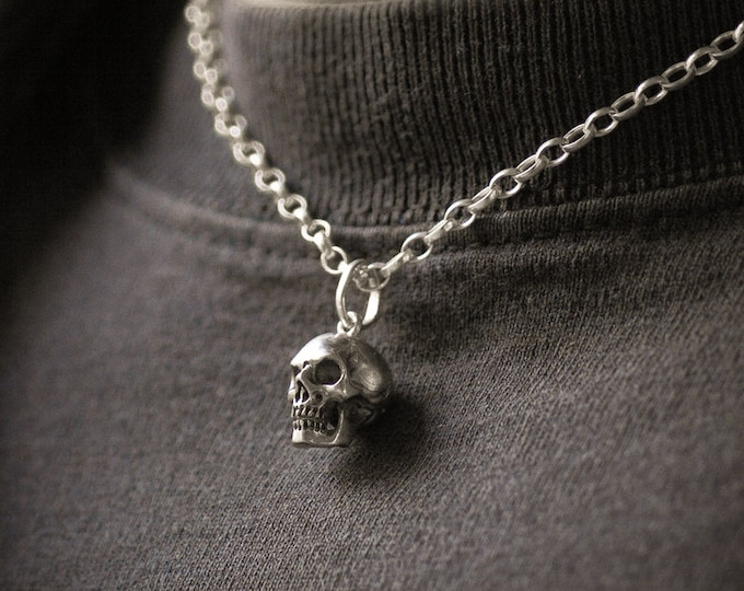 Massive Skull Pendant, Edgy Charm for Men without Chain, Memento Mori Jewelry, massive Sterling, Rock, Goth, Biker, Ready to Ship