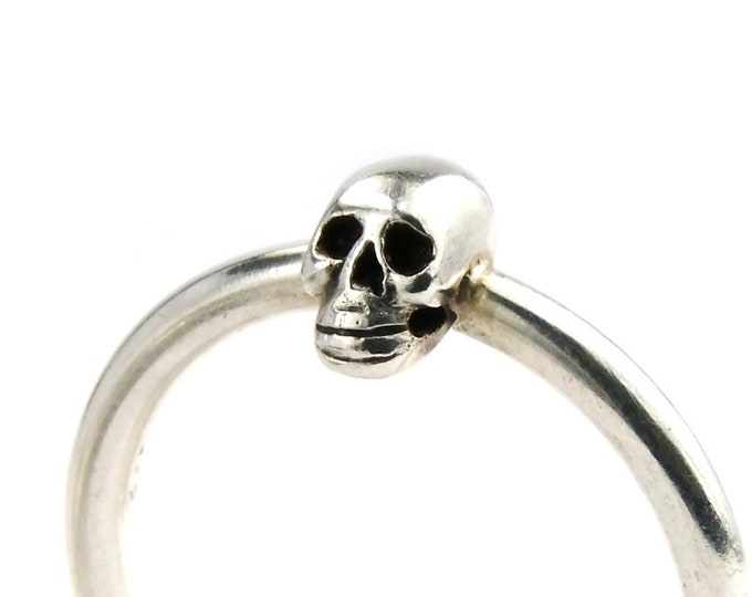 Cute Skull Ring, Size 5, Tiny Memento Mori Ring, Anniversary, Gift For Her, Bridal, Stocking Stuffer, Small Gift