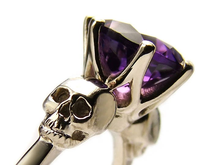 WANDA Skull Ring, Solid White Gold, Size 6.5, UK M1/2, Unique Goth Engagement, Natural Gem, Memento Mori, Anniversary, Gift For Her, Bridal