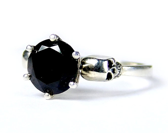 WANDA Skull Engagement Ring, Black Spinel Skull Ring, Goth Wedding, Memento Mori