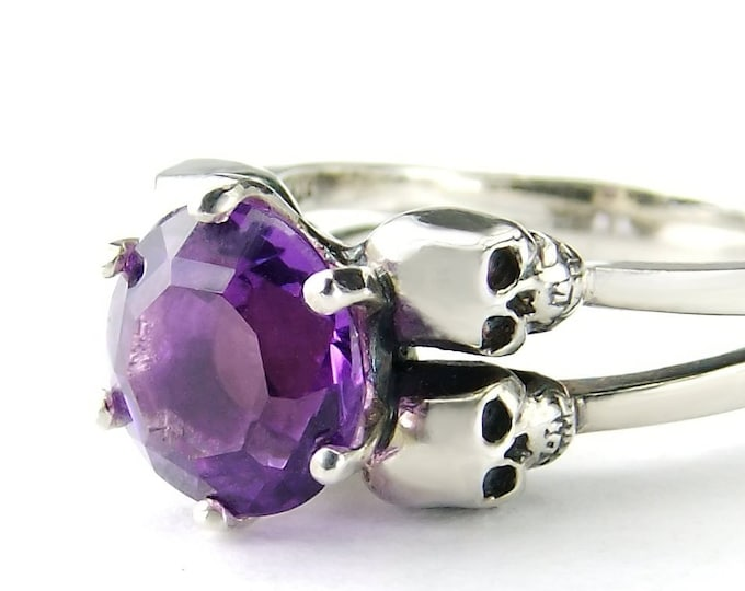 VARLA - Skull Ring Size 4.5, UK I, Unique Amethyst Ring