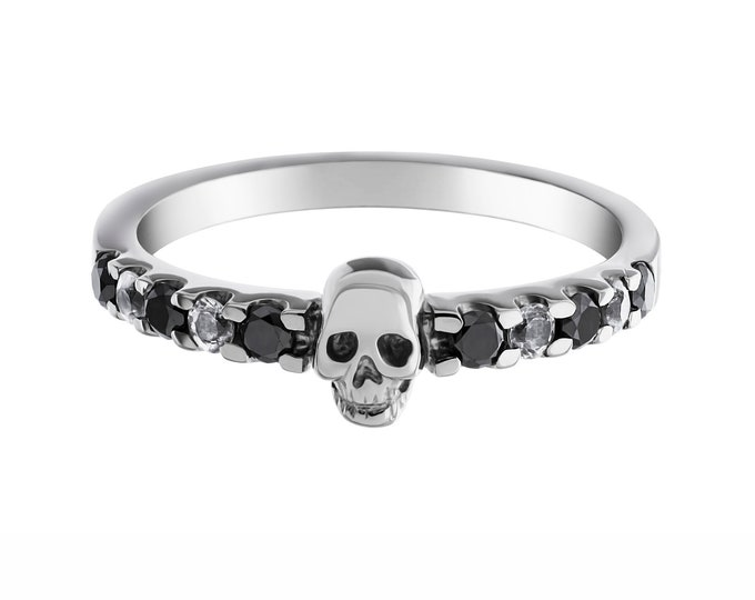 SALACIA - Tiny Skull Wedding Band, Black Diamond Sterling Engagement Ring, Goth Psychobilly Wedding Band