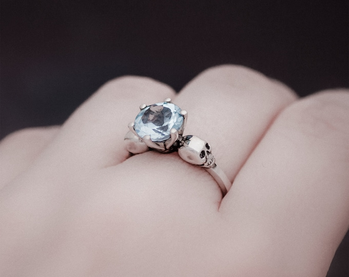 WANDA - Size 5.5, Goth Engagement Ring, Valentines Gift, Sky Blue Topaz, Gemstone, Memento Mori, Rock and Roll, Gift for Her