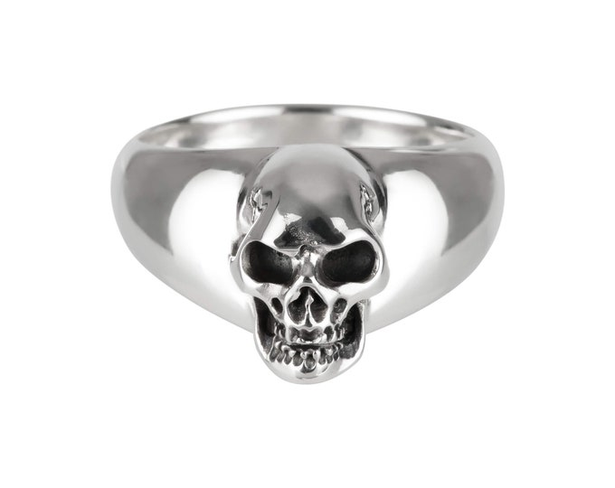 BEHEMOTH -  Size 9, UK S, Large Skull Ring in Sterling Silver, Massive Men Ring, Biker, Rocker, Goth