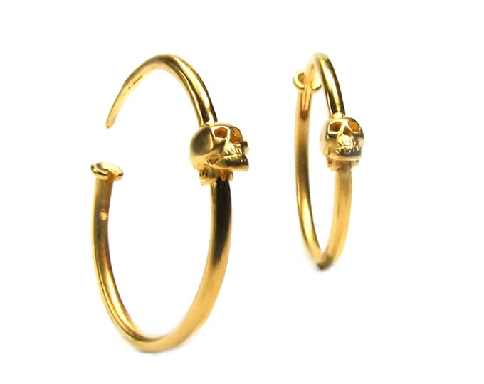 Skull Gold Earrings Skull Hoops Gold Plated Gauged Earring Goth Hoop Earrings Punk Psychobilly Jewelry