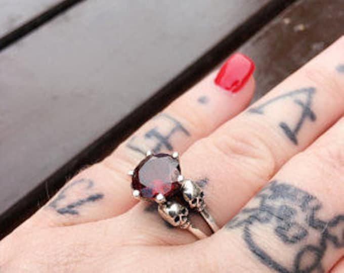 VARLA - Skull Wedding Ring, Blood Red Garnet, Goth Wedding Sterling Silver, Skull Engagement