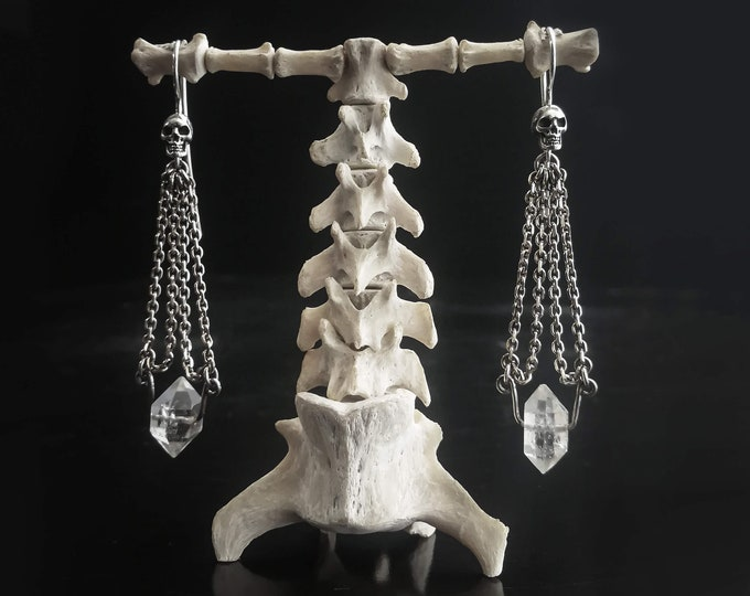 CHAIN EARRINGS - Skull Dangles with Natural Herkimer Diamond Crystal, Gothic Bridal Earrings, Memeto Mori