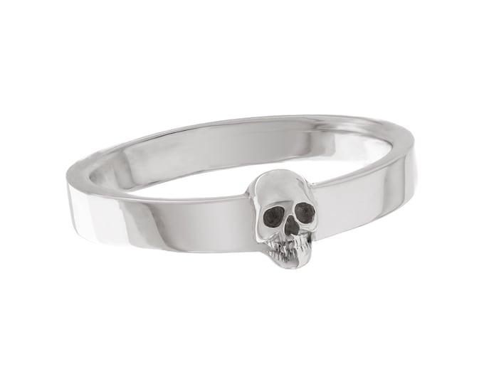 Skull Mens Wedding Ring Dainty Solid Sterling Goth Groom Ring Psychobilly Wedding Band Wedding Set All Sizes Gift for Him