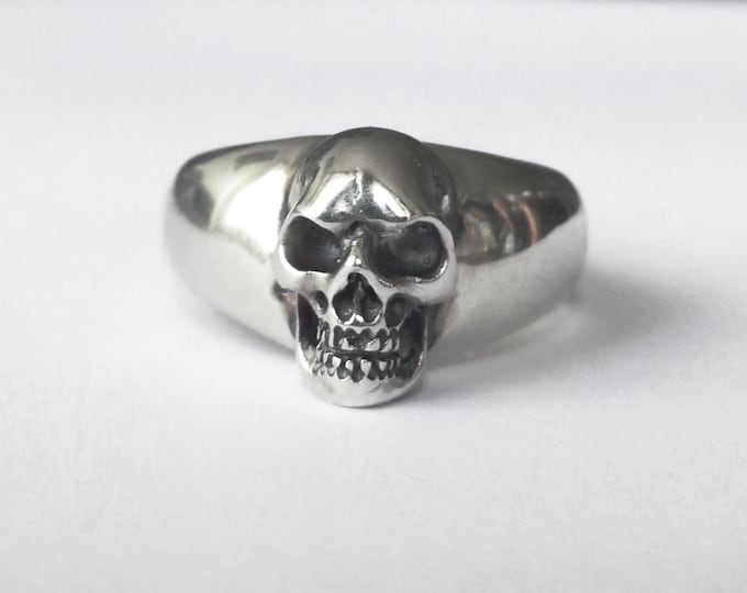 Large Skull Ring in Sterling Silver, Size 11, Massive Men Ring, Biker, Rocker, Goth