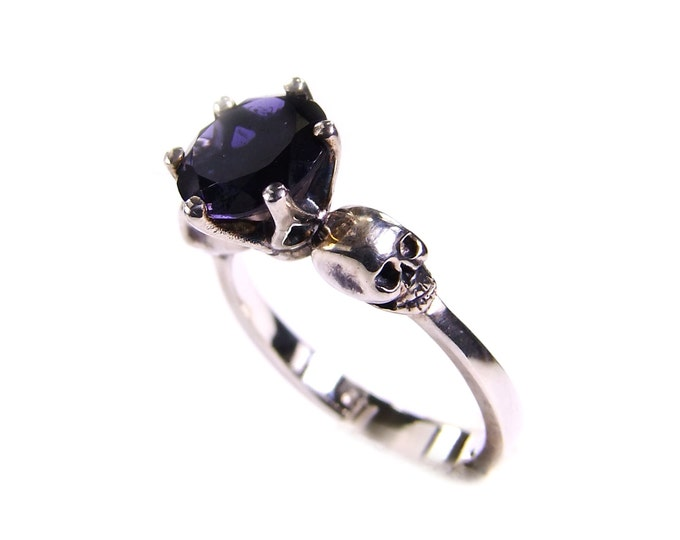Skull Engagement Ring with Blue Gemstone Iolithe in Sterling Silver - All Sizes