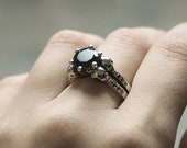 LILITH Skull Engagement Ring, Black Spinel and Natural Black Diamonds, Skulls and Sterling Silver Goth Rock Wedding, Memento Mori