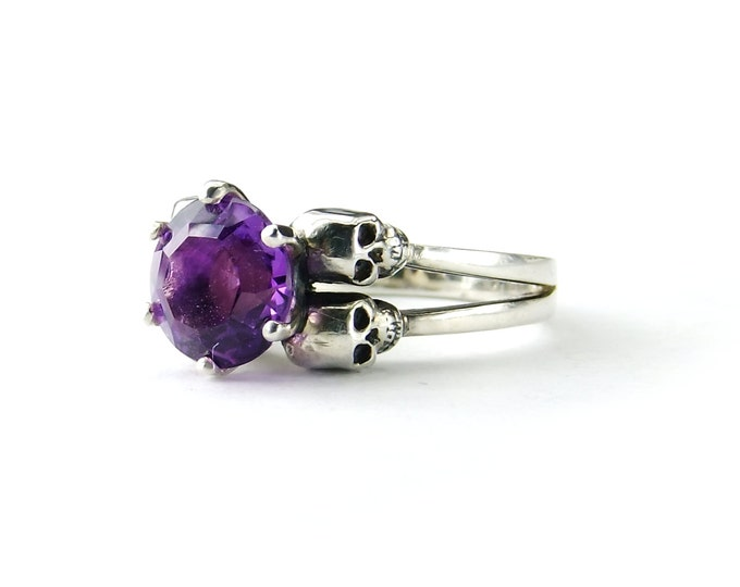 Double Skull Engagement Ring with Amethyst in Sterling Silver - All Sizes