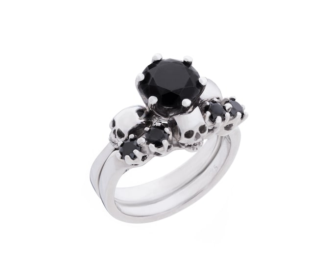 Reserved for Matthew - Payment Plan for Wanda Skull Wedding Set in Platinum with Black Moissanite and Diamonds- Total Price 1790 Euros