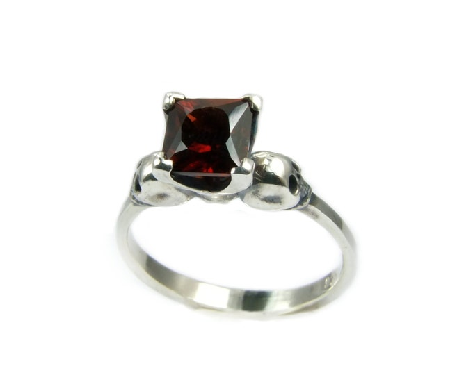Skull Engagement Ring with Square Garnet in Sterling Silver - All Sizes
