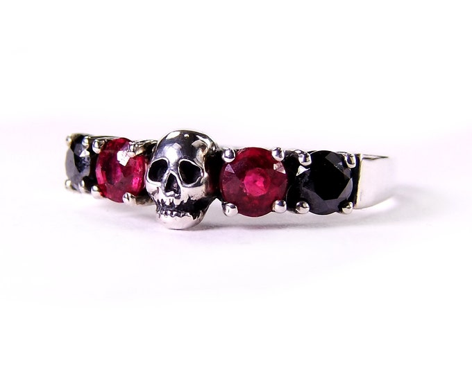 Skull Wedding Ring, Black Diamond, Red Ruby Sterling Engagement Ring, Psychobilly Wedding Band
