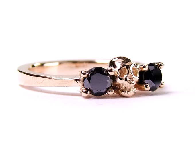 Rose Gold Skull Wedding Ring, Black Diamond,  Solid 14K Gold Ring, Non-traditional Womens Band
