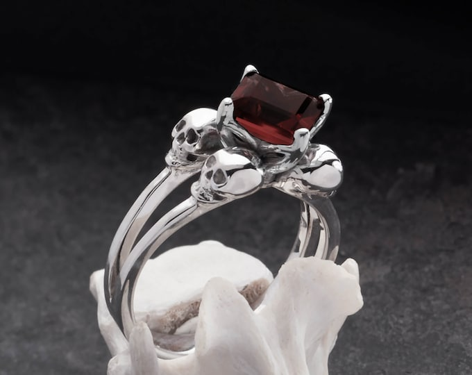 ZORYA Size 7 / UK N, Skull Ring with Square Red Garnet, Blood Red Goth, Memento Mori