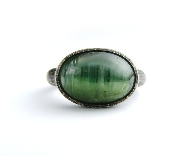 Green Tourmaline Cats Eye Silver Ring, Women's Engagement Ring, Individual Size 6.5