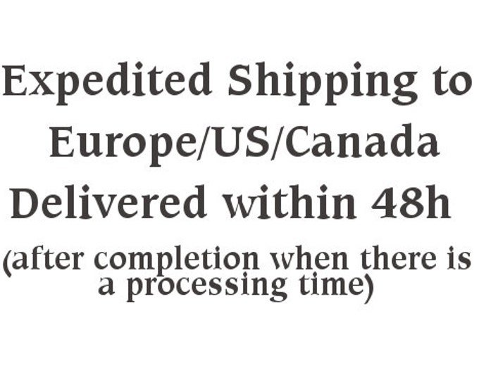 Superfast Expedited Shipping to Europe/US/Canada Delivery Within 48h after Completion as there is a processing time stated