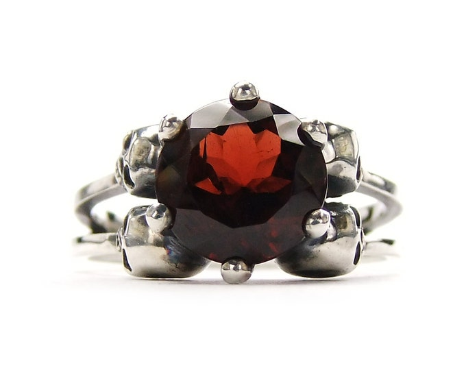 RESERVED FOR HEZIKIAH Payment Plan Total Price 289 Euros Skull Ring with Red Garnet in Sterling Silver