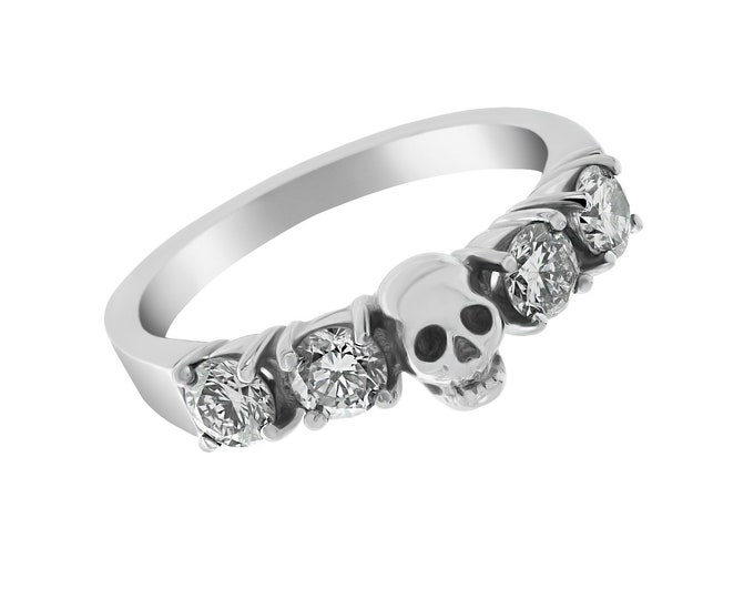 HELICE - White Goth Wedding Ring, Skullring made of Palladium with 0.9ct Natural White Diamonds, White Topaz or White Sapphire