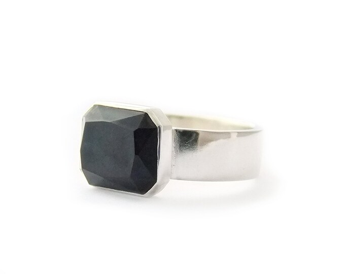 Lapis Lazuli Ring Sterling Dark Blue Faceted Gemstone Ring December Birthstone Square Gem Cocktail Ring Simple Design Urban Jewelry Size 8