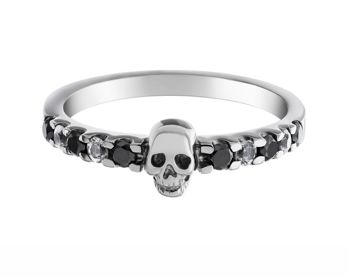 RESERVED  for Jessica - Dainty skull ring with 6 tanzanites and 4 Aquamarines in Sterling Silver