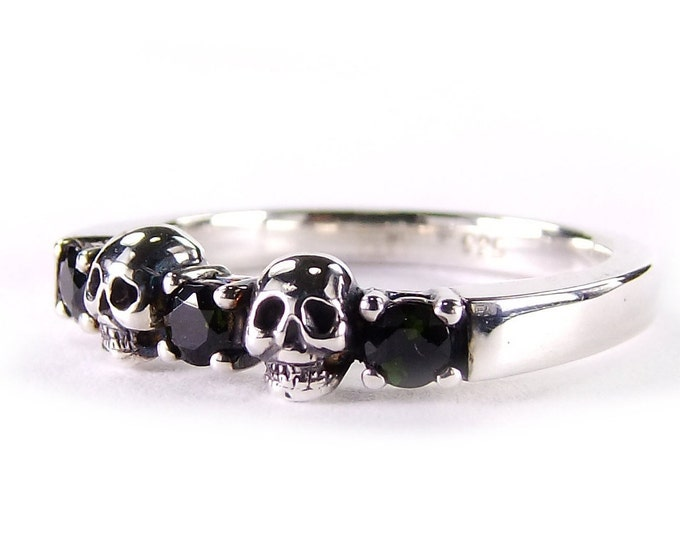 Skull and Witch Wedding Ring, Womens Skull Ring, Black Stone Sterling Engagement Ring, Psychobilly