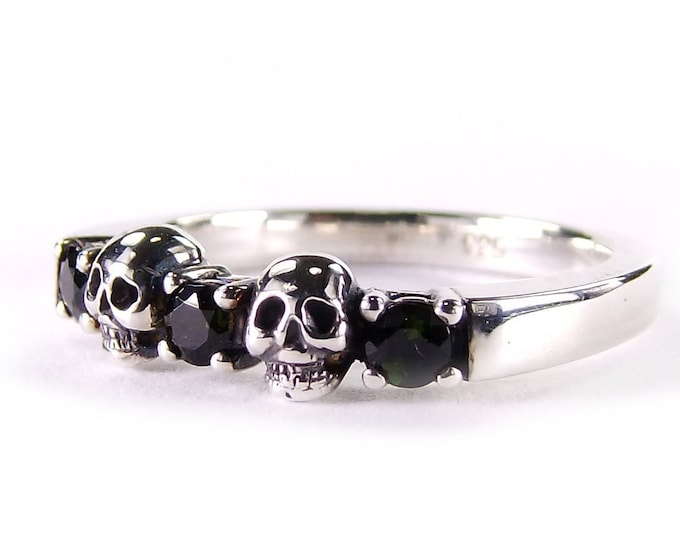 ECHIDNA - Skull and Stones Witch Wedding Ring, Womens Skull Ring, Black Sterling Engagement Ring, Psychobilly