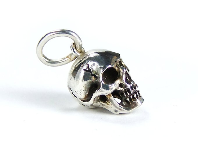 Mens Skull Pendant Necklace, Goth Charm, Memento Mori, Punk Rocker, Psychobilly