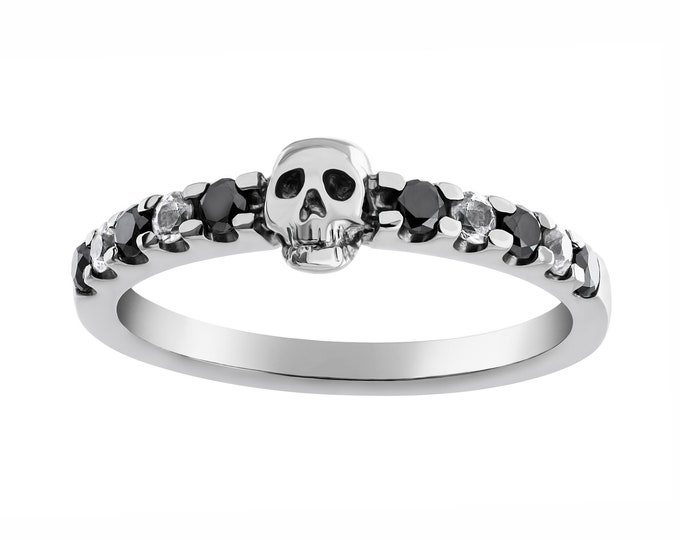 Dainty Skull Ring in White Gold READY TO SHIP Size 6.5 with Natural Black Diamonds and White Sapphire Skull Wedding Ring Goth Psychobilly