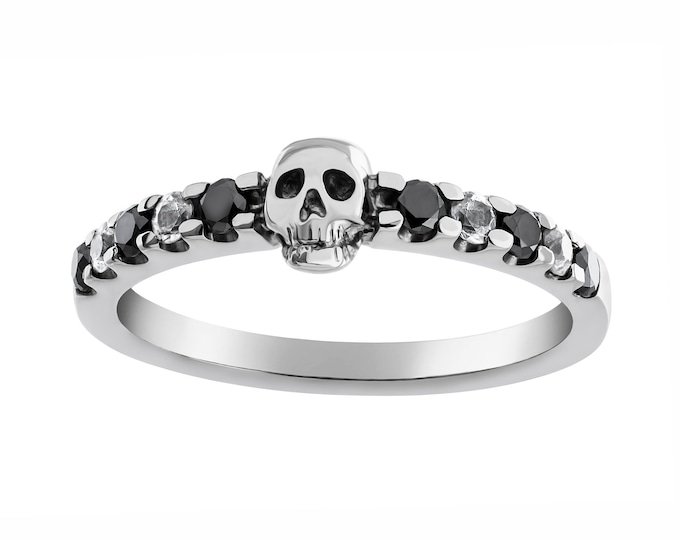 SALACIA - Size 6.5, Dainty Skull Ring, White Gold,  Natural Black Diamonds, White Sapphire, Psychobilly, Anniversary, Gift For Her, Bridal