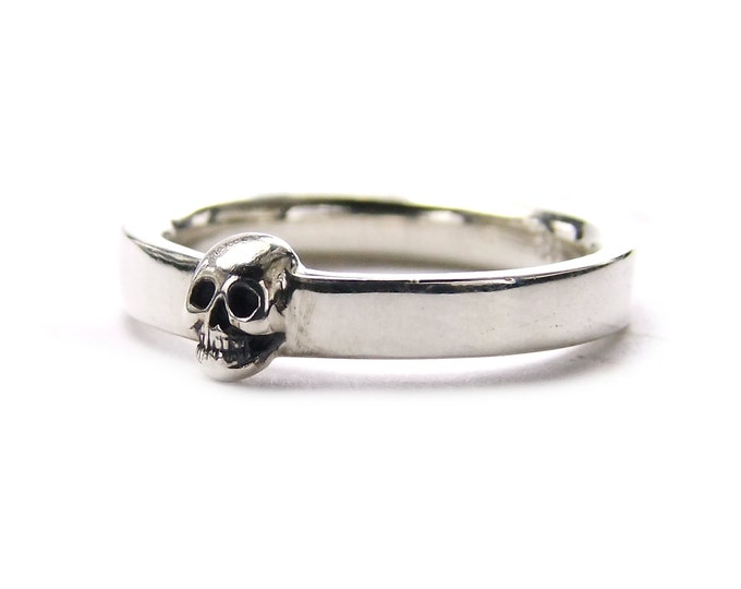 Grooms Skull Ring, Size 9, Mens Wedding Ring, Goth Psychobilly, Wedding Set, Anniversary, Gift For Him, Husband, Valentines Day